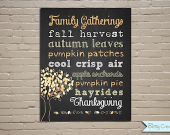 Chalkboard Autumn Thanksgiving Subway Art Printable Wall Art by BitsyCreations Instant Download