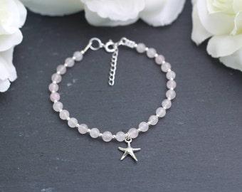 Starfish Charm Bracelet, Rose Quartz Bead Bracelet, Gemstone Bracelet, Love Bracelet, Positive Energy Bracelet