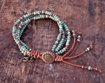 Seed Bead Leather Wrap Bracelet Beaded Leather Wrap Bracelet Womens Jewelry Bohemian Jewelry Boho Summertime Flip Flop Charm