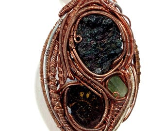 Iridescent Botryoidal Hematite, Ammonite, and Green Tourmaline Copper Wire Wrapped Pendant // Heady Wire Wrap // Wire Wrapped Crystal Stone