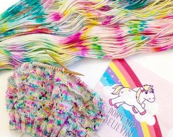 DK weight. Enchanted Unicorns.Light worsted. New Zealand Polwarth yarn. Hand Dyed Yarn. Hand painted Speckled Yarn 100% polwarth.