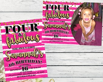 Four & Fabulous 4th Birthday invitation - Girls Hot Pink and Gold glitter ***Digital File*** (Four-FabHotPnk Pic)