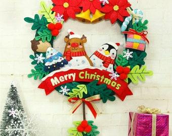 Christmas Felt Cloth Door Pendant Ornament 31X42CM Festival Decoration Handmade Sewing Art Felt DIY Package For Children Gift