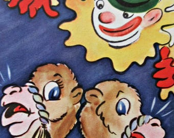 Vintage Birthday Card, Camel Card, Clown and Camels, Child's Birthday, 1950s Greeting Card, Cute Kawaii Zakka, Vintage Card, Kid Birthday