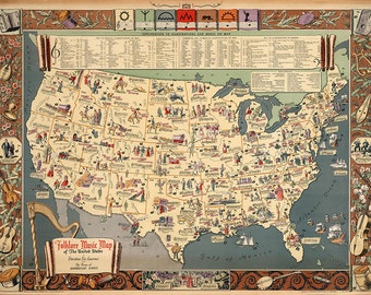 Folklore Music Map of the United States 1945.  Laurence, Dorthea Dix.  Vintage reproduction print poster