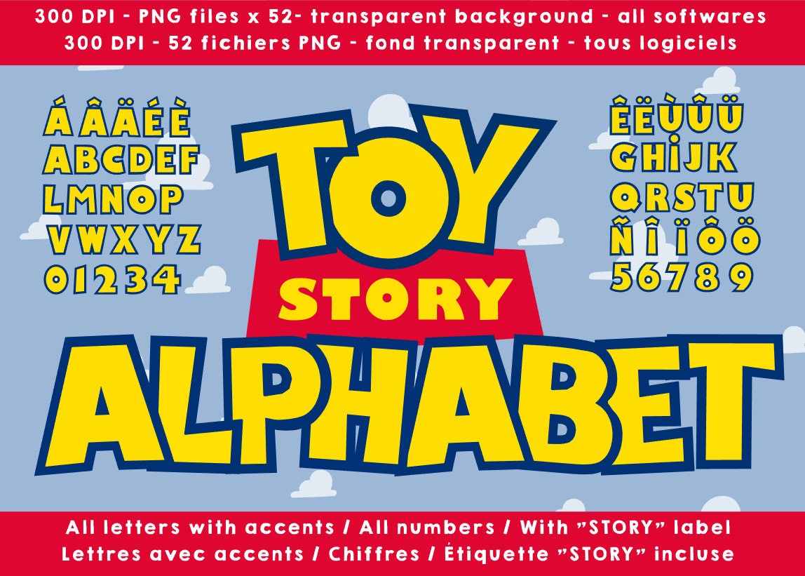 Toy Story alphabet letters numbers 300 dpi png cliparts