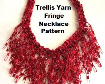 Crocheted Trellis Ladder Yarn Fringe Necklace PATTERN