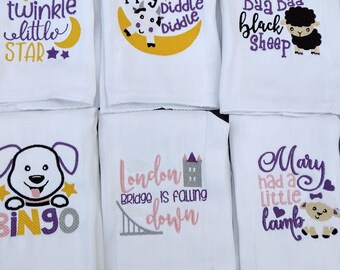 Baby burp cloths, Baby girl shower gift,Nursery rhymes,Baby girl gift, Burp cloths, Burp cloth set,Newborn gift, Baby gift, baby shower gift