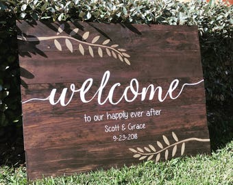 """36x28"""" Large Welcome Wedding Sign, Rustic Wedding Sign,Welcome to our Wedding, Happily Ever After, Custom Sign, Hand Painted Sign"""