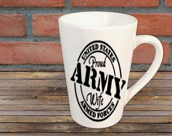 Army Wife Mug Coffee Cup Gift Home Decor Kitchen Bar Gift for Her Him Any Color Personalized Custom Jenuine Crafts