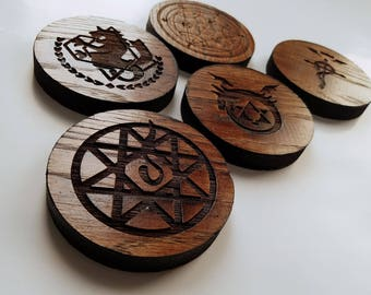 """Full Metal Alchemist Inspired Oak Coasters, Round Coaster Set, 5 Coasters, 3.2"""" Size, 0.5"""" Thick (You Choose Stain and Set )"""