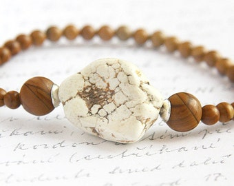 fathers Day Gift Tribal Bracelet Thin Bangle Bohemian Jewelry Natural Stone Bracelet Large White Turquoise Howlite Brown Jasper Bracelet