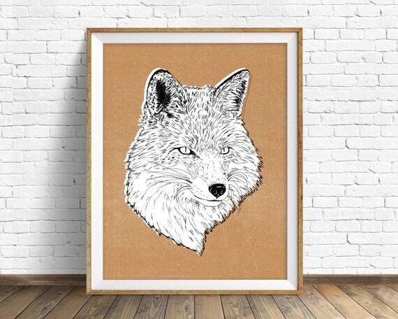 "art print, fox, woodland animals, large art, large wall art, modern art prints, contemporary, wall art, animal prints, art - ""Roxy the Fox"""