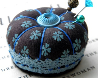 Miniature Pincushion, Chocolate and Turquoise