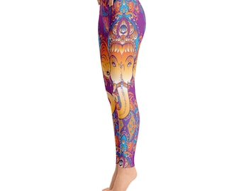 Ganesha Yoga Leggings Exotic Indian Hindu Yoga Pants meditation Ashram