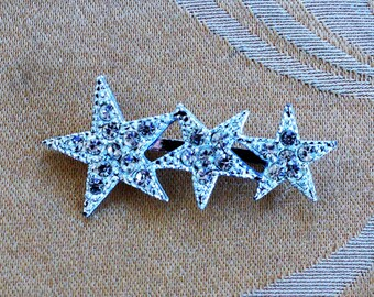 Pretty Vintage Rhinestone Star Brooch, Silver tone (AE8)