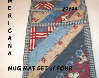 MUG MATS,  AMERICANA,  Set of Four,  Red,  White,  Blue,  Home Decor,  Holiday Décor,  Memorial Day,  July Fourth, Party,  Hostess Gift