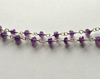 Tiny Amethyst Stone Rosary Chain Necklace, Purple Stone Necklace, 3mm Amethyst Stone Rosary Chain, Choose a Length, Minimalist