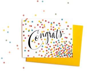 Boxed Set of Confetti Congratulations Greeting Cards, Handwritten Typography