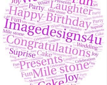 Personalised Balloon Word Art Fun Print Perfect For Birthdays, Party events, Weddings. * Digital Print *
