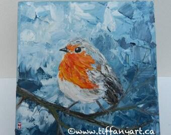 "English Robin, English Robin oil painting, Robin painting, 6x6"" oil painting, bird oil painting, impasto painting, bird original painting"