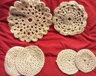Crocheted coasters and hot pads