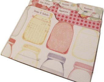 Recipe Tab Dividers  Coordinates with my 5x7 Mason Jar Recipe Box (Set of 8) FOR 5x7 BOX Made To Order