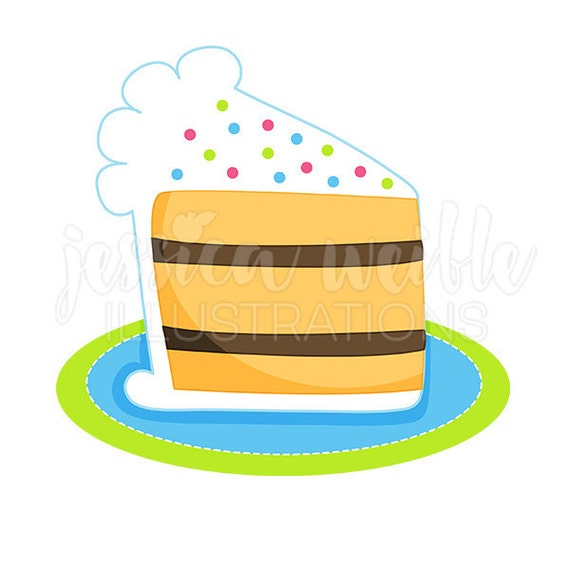 Slice of Birthday Cake Cute Digital Clipart Cake Clip art