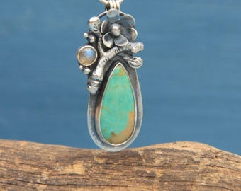 Turquoise with Labrodarite pendant and chain