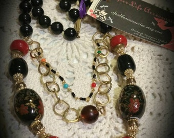 After Life Accessories: Handmade Black/Red Beads & Gold Accent Layered Necklace