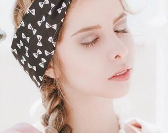 Bow Wire Headband, Dolly Bow, Pin Up Rockabilly Hair Wrap, Bandana, Hair Scarf, Bow Headband, Twist Hair Tie