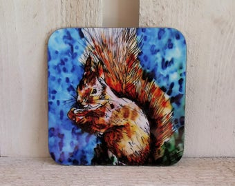 Red Squirrel Coaster - Red Squirrel Gift - Blue Coaster - Table Mat - Animal Coaster - Wildlife Coaster