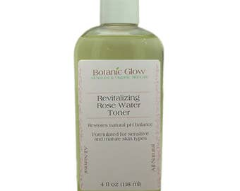 Revitalizing Rosewater Toner 4 oz - All-Natural - Organic