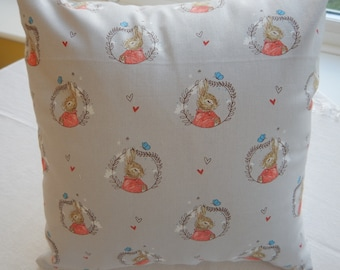 Cushion and Lampshade, hand-made in Peter Rabbit- Flopsy Bunnie fabric.