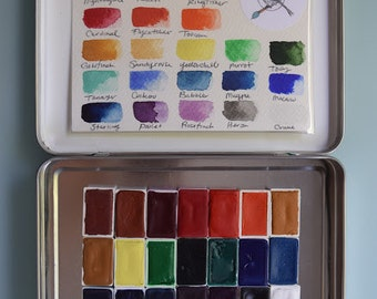 Complete Watercolor Handmade Paint kit -Set of 24 WHOLE pans of our non toxic watercolour paint kit - Comes with Tin and Waterbrush