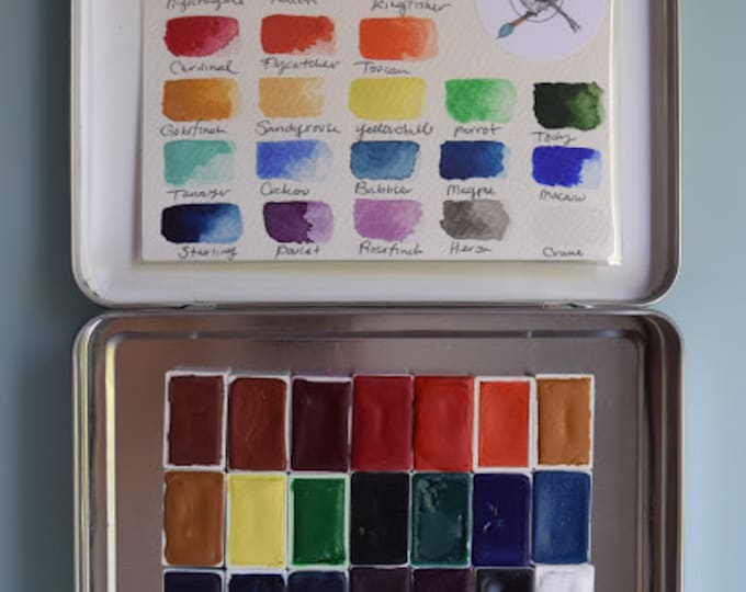 Watercolor Handmade Paint kit -Set of 24 WHOLE pans of our non toxic watercolour paint kit - Comes with Tin and Waterbrush