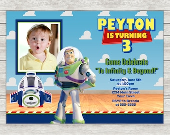 Buzz Lightyear Birthday Invitation, Toy Story Invitation - Digital File (Printing Services Available)