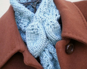 Hand Knit Scarf / Scarflette / Collar / Ascot - Celadon Blue