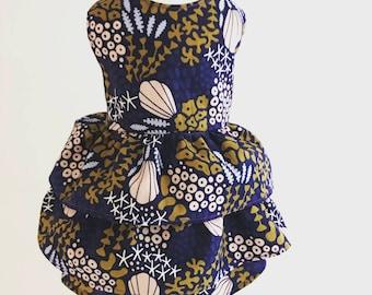 Seashell Print Dog Dress, Dog Dress, Dog Clothes, Dog Apparel, 100% Organic Cotton, Organic Cotton, Eco Dog Clothes, Ruffle Dress