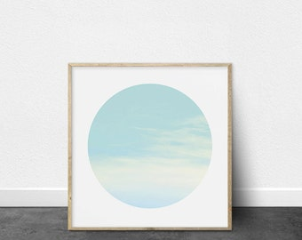 Printable Art, Photography, Circle Print, Wispy Clouds, Blues and Pinks, Abstract, Printable Wall Art, Pastel Colors