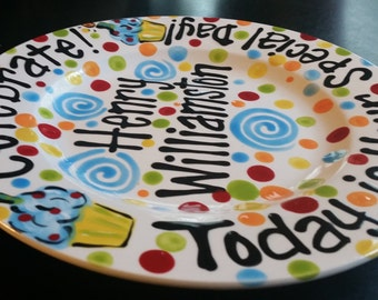 Hand Painted Personalized Birthday Plate - Bright Primary Colors