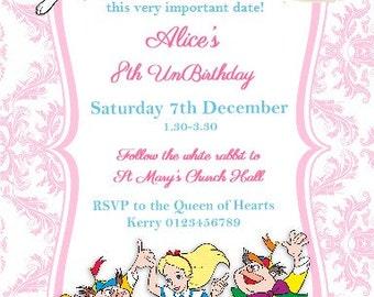 Printed Personalised Alice in Wonderland Birthday Party Invitations X10