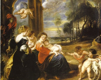 Religious Art Holy Family with Saints by Rubens to Frame or for Paper Arts PSS 2250