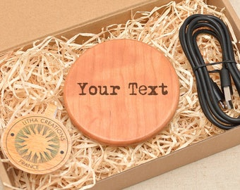 Customized QI Charging Wireless Charger Pad with YOUR personalized TEXT Engraved in Cherry Wood