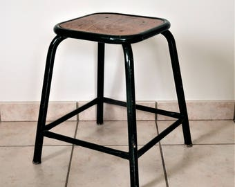 Stool workshop 1950-1960 tubes Mullca and wood in excellent condition/illuminati10