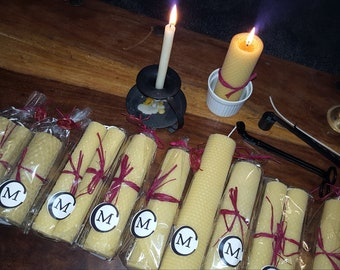"""13cm x 4cm """"BLESSED CANDLE"""" Hand Rolled Beeswax Votive Candle (A4)"""