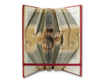 Wedding Gift, Anniversary Gift, 1st Anniversary, Gift for Him, Gift for Her, Wedding Date, Birthday Gift, Folded Book Sculpture, Book Art