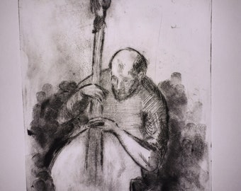 Drypoint Etching of a musician
