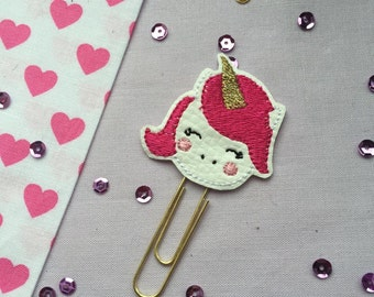 Unicorn Planner Paperclip, planner accessories, hot pink unicorn planner clip, unicorn face planner paperclip, TN accessory, cute paperclip