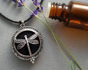 Essential Oil Diffuser Necklace, Aromatherapy Jewelry, Diffuser Locket, Oil Necklace, Essential Oil Accessories, Dragonfly Necklace